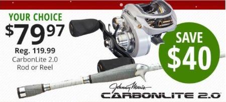 $40 Off CarbonLite 2.0 Rod or Reel from Cabela's