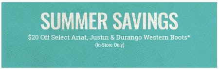 $20 Off Select Ariat, Justin & Durango Western Boots from Boot Barn Western And Work Wear