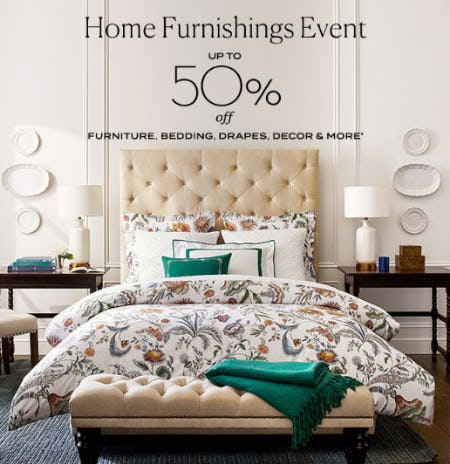 Up to 50% Off Home Furnishings Event from Pottery Barn