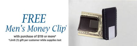 Free Men's Money Clip with Purchase of $119 or More