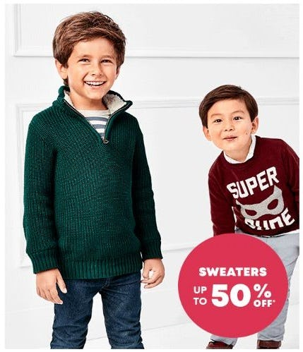 Up to 50% Off Sweaters for Boys & Girls from The Children's Place