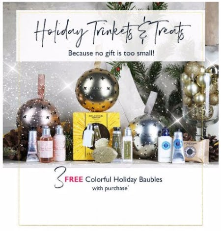 3 Free Colorful Holiday Baubles With Purchase