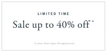 Up to 40% Off Sale from Abercrombie & Fitch