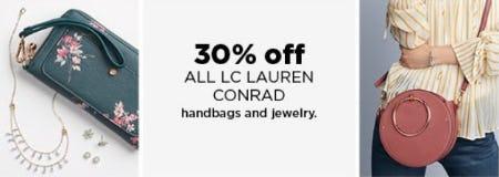 30% Off All LC Lauren Conrad Handbags and Jewelry