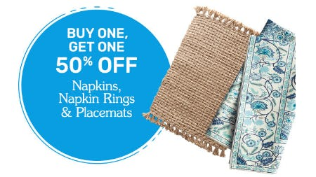 BOGO 50% Off Napkins, Napkin Rings & Placemats from Pier 1 Imports