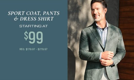 Sport Coat, Pants & Dress Shirt Starting at $99 from Men's Wearhouse