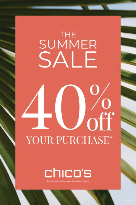 40% off your purchase from chico's
