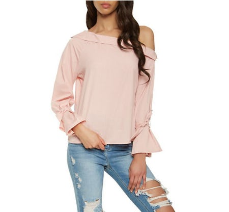 Off The Shoulder Tie Sleeve Top from Rainbow