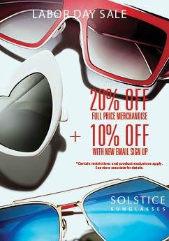 39621c64a5e Solstice Sunglasses Labor Day Promo at Solstice Sunglass Boutique ...