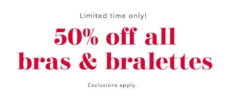 50% Off All Bras & Bralettes from Aerie