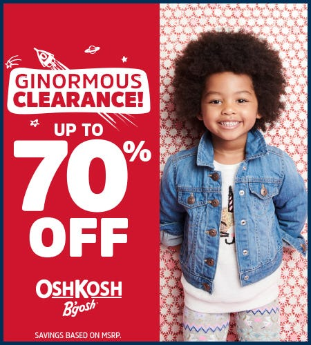 Ginormous Clearance Up to 70% Off from Oshkosh B'gosh