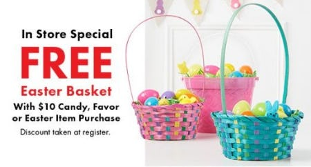 Free Easter Basket with $10 Candy, Favor or Easter Item Purchase from Party City