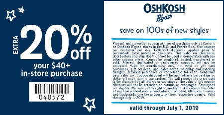 20% Off Your In-Store Purchase of $40+ from Carter's Oshkosh