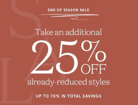 Take an Additional 25% Off Already-Reduced Styles