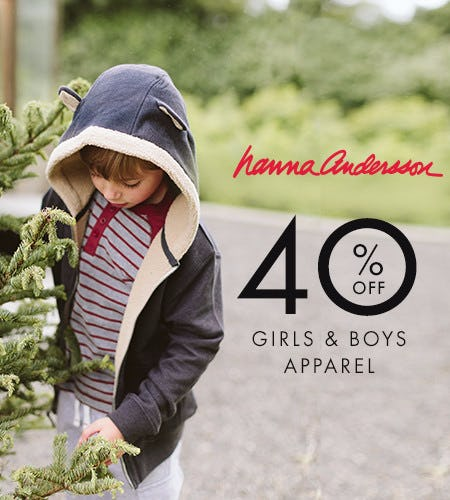 40% off girls and boys apparel + 40% off adult sleep
