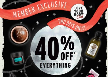 40% Off Everything from The Body Shop