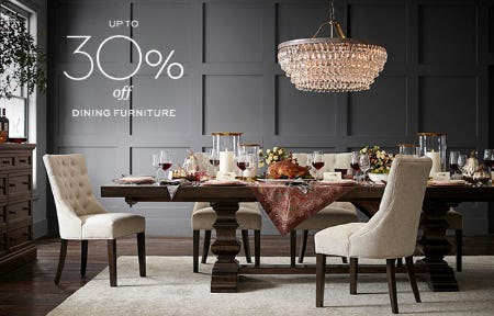 Up to 30% Off Dining Furniture from Pottery Barn