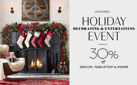 30% Off Holiday Decorating & Entertaining Event from Pottery Barn