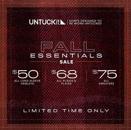 Fall Essentials Sale from UNTUCKit