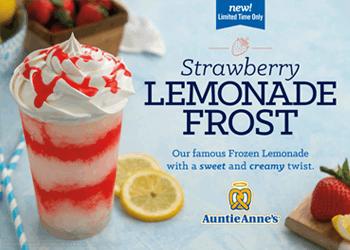 Buy a NEW Strawberry Lemonade Frost, GET A FREE PRETZEL.