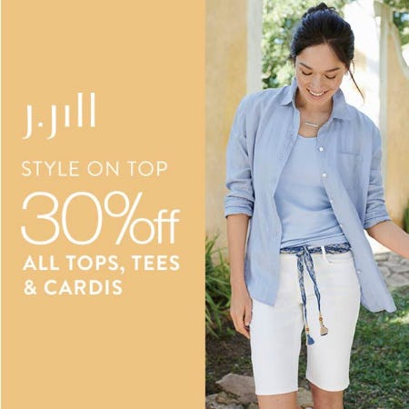 30% off All Tops, Tees & Cardis
