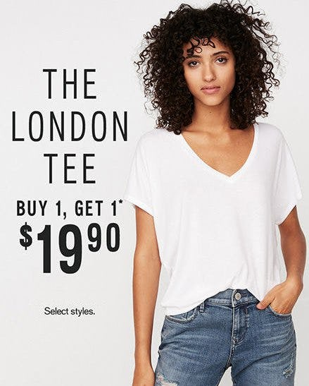 The London Tee Buy 1, Get 1 $19.90 from Express