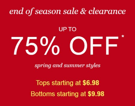 Up to 75% Off End of Season Sale & Clearance
