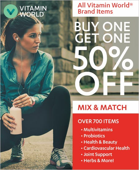 BOGO 50% Mix & Match All Vitamin World Brand Products