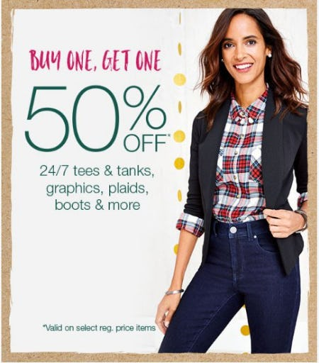 Buy One, Get One 50% Off 24/7 Tees, Tanks, Graphics, Plaids & More from maurices