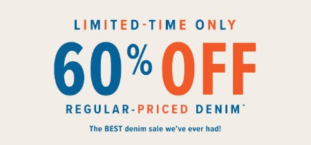 60% Off Regular Priced Denim from Lucky Brand Jeans