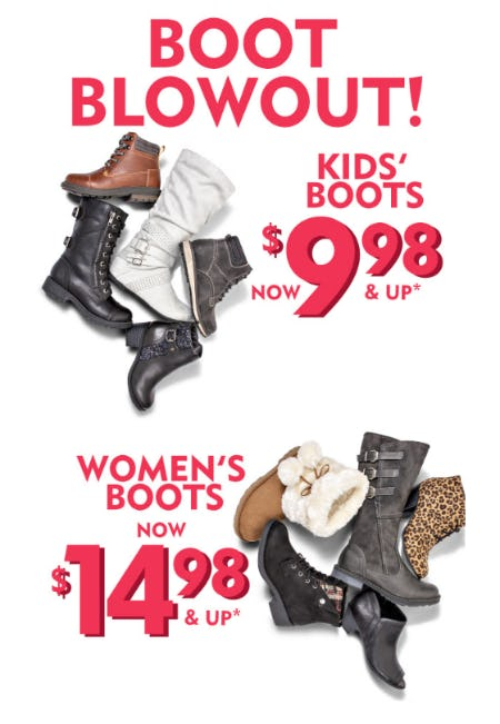 Boot Blowout: Kids' Boots now $9.98 and Up and Women's Boots now $14.98 and Up from Shoe Carnival