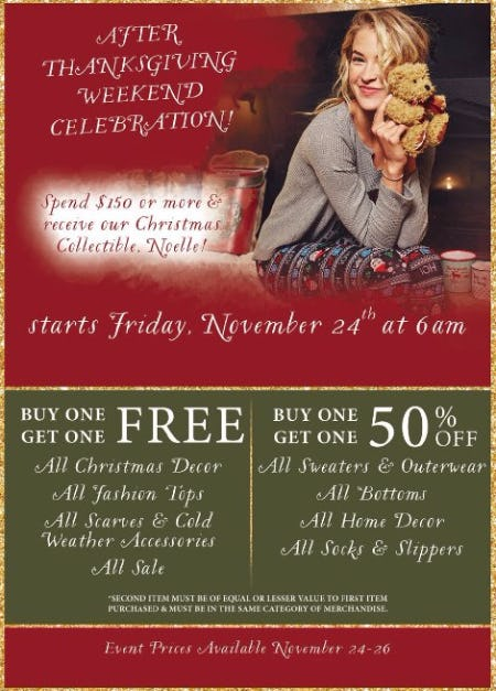 After Thanksgiving Weekend Celebration Specials