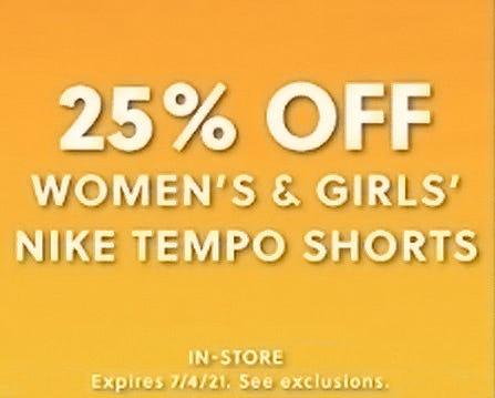 25% Off Women's & Girls' Nike Tempo Shorts from Hibbett Sports