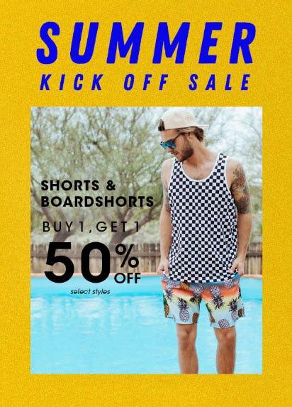 BOGO 50% Off Shorts & Boardshorts from Tilly's