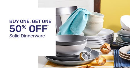 BOGO 50% Off Solid Dinnerware from Pier 1 Imports