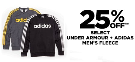 25% Off Select Under Armour & Adidas Men's Fleece from Lord & Taylor