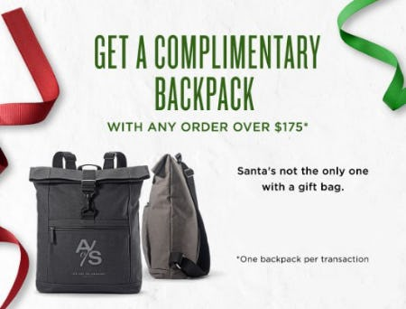 Get a Complimentary Backpack from The Art of Shaving