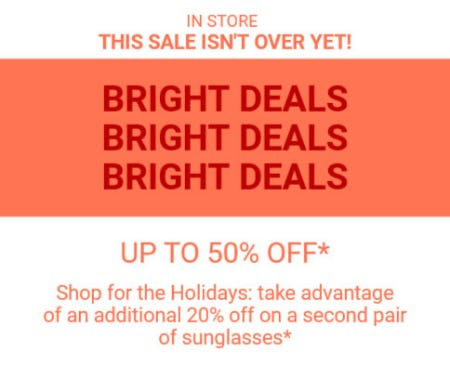 Up to 50% Off Sale from Sunglass Hut