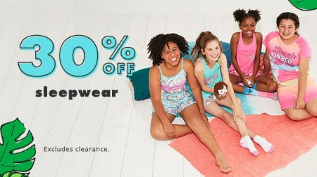 30% Off Sleepwear from Justice