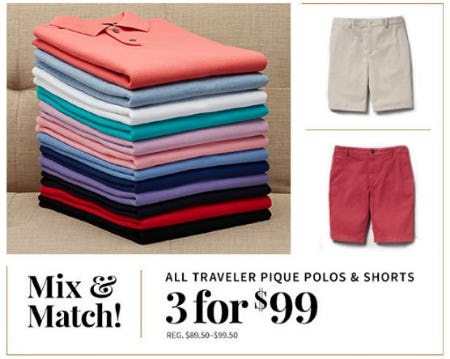 All Traveler Pique Polos & Shorts 3 for $99 from Jos. A. Bank