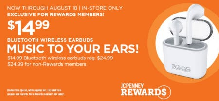 $14.99 Bluetooth Wireless Earbuds from JCPenney