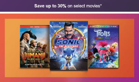 Save Up to 30% on Select Movies from Target