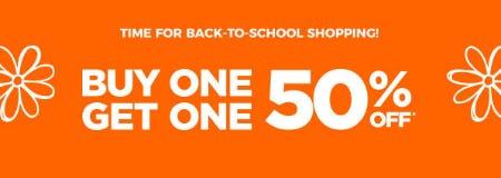 BOGO 50% Off Back-To-School Sale