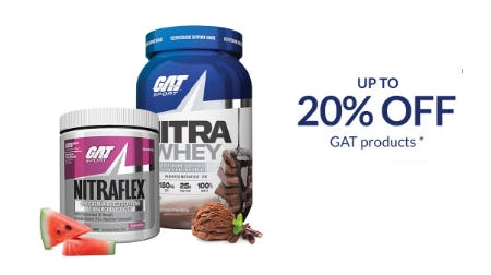 Up to 20% Off GAT Products from The Vitamin Shoppe
