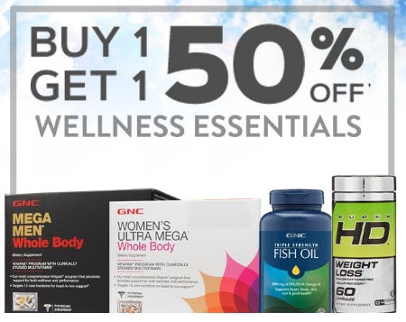 Buy 1, Get 1 50% Off Wellness Essentials from GNC Live Well