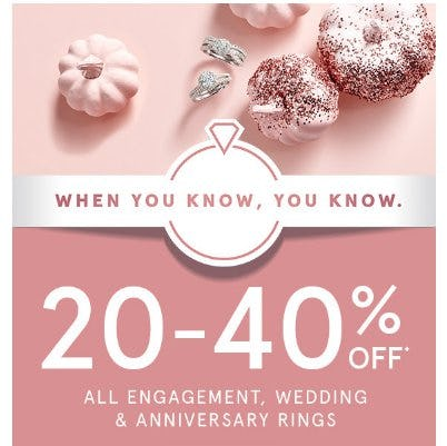 20-40% Off All Engagement, Wedding and Anniversary Rings from Kay Jewelers