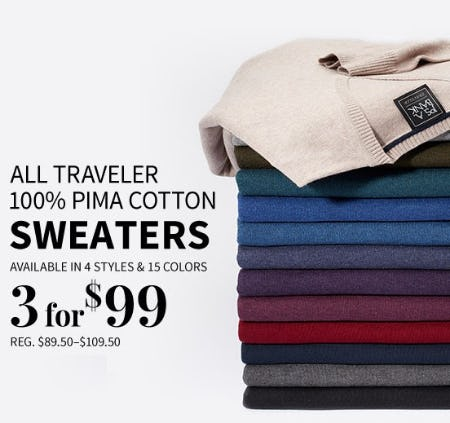 All Traveler 100% Pima Cotton Sweaters 3 for $99 from Jos. A. Bank
