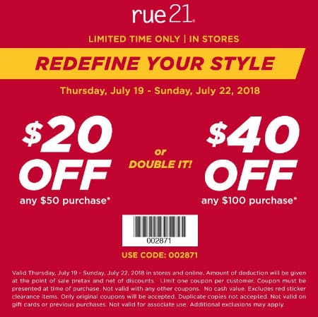 $20 Off Any $50 Purchase from rue21