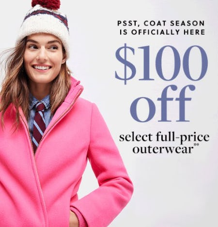 $100 Off Select Full-Price Outerwear from J.Crew