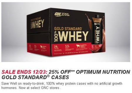 25% Off Optimum Nutrition Gold Standard Cases from GNC